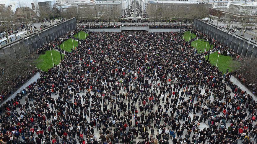65 000 den a oa e straedoù Brest d'an 11 a viz Genver 2015