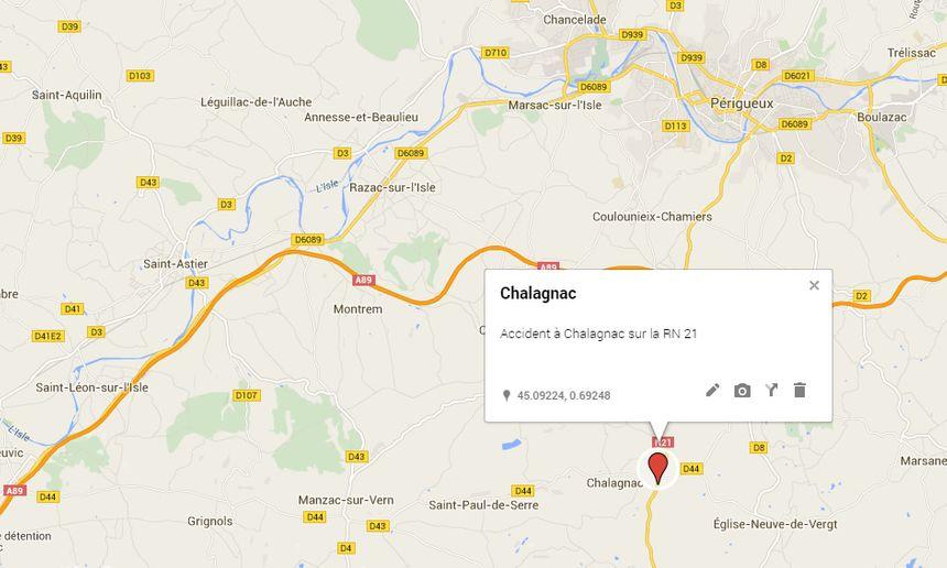 Localisation de Chalagnac sur la RN 21 - Aucun(e)