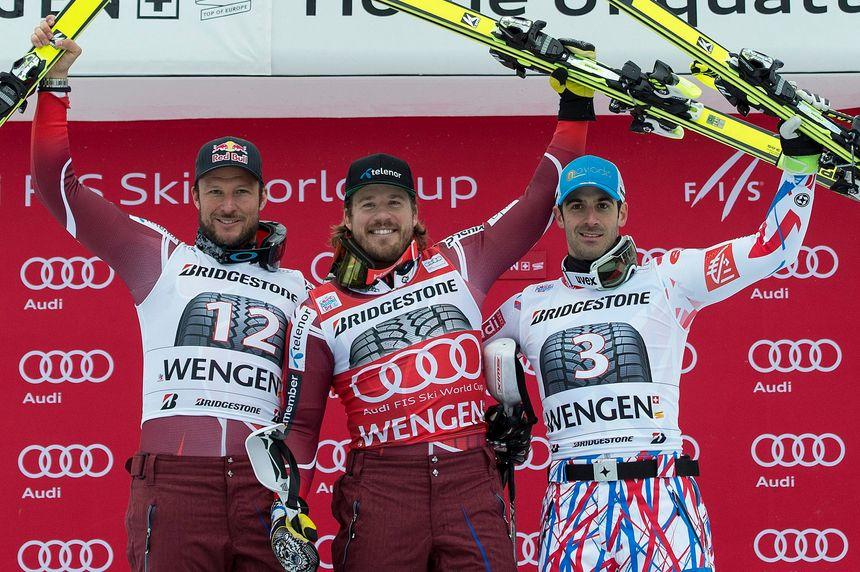 Adrien Théaux (à droite) 3e du super combiné de Wengen (Sui).  - Maxppp