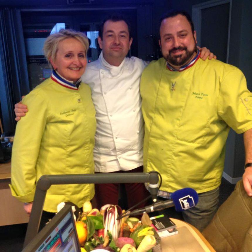 Catherine Botti Mof Primeur, le chef Anthony Laboubé et Joahnn Favre Mof Primeur - Radio France