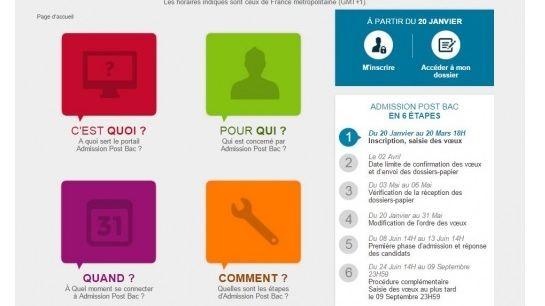 La page d'accueil du site APB