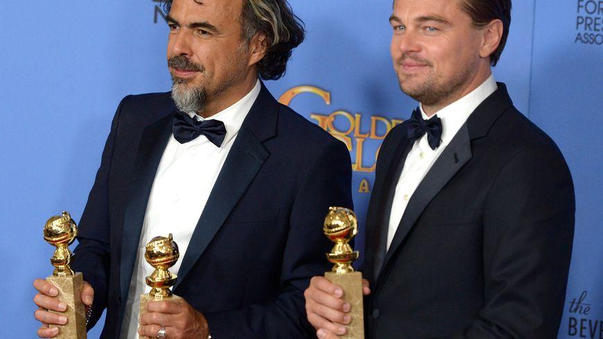 Leonardo DiCaprio et Alejandro Gonzalez Iñarritu, aux Goldens Globes 2016