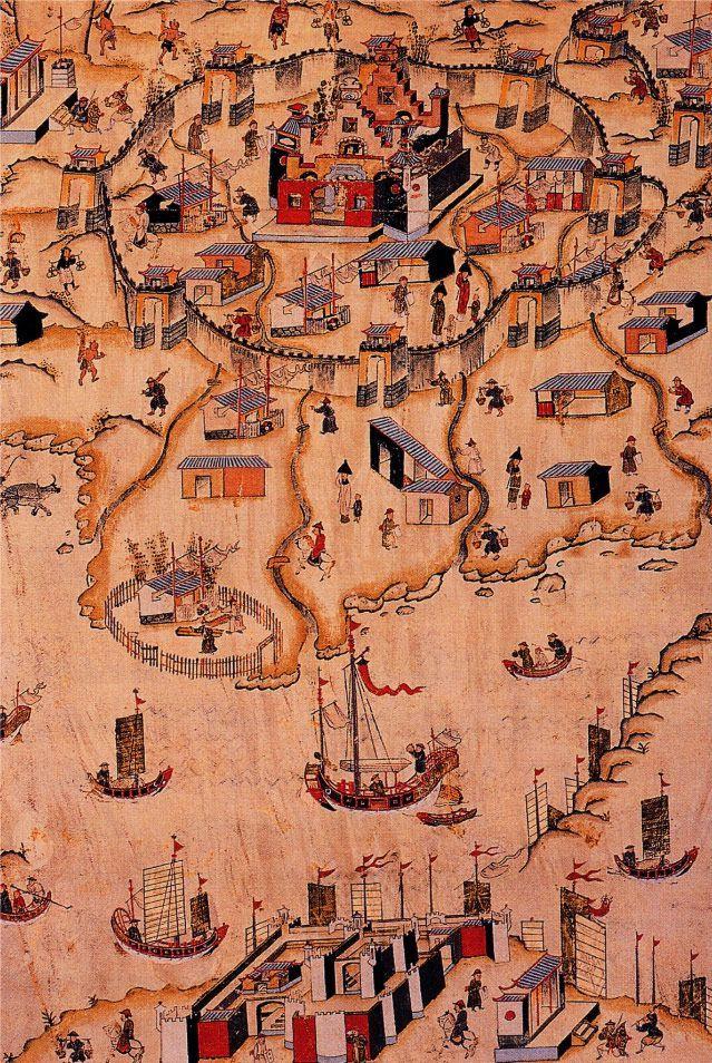 Carte de la ville de Tainan à Taïwan au XVIIIème siècle