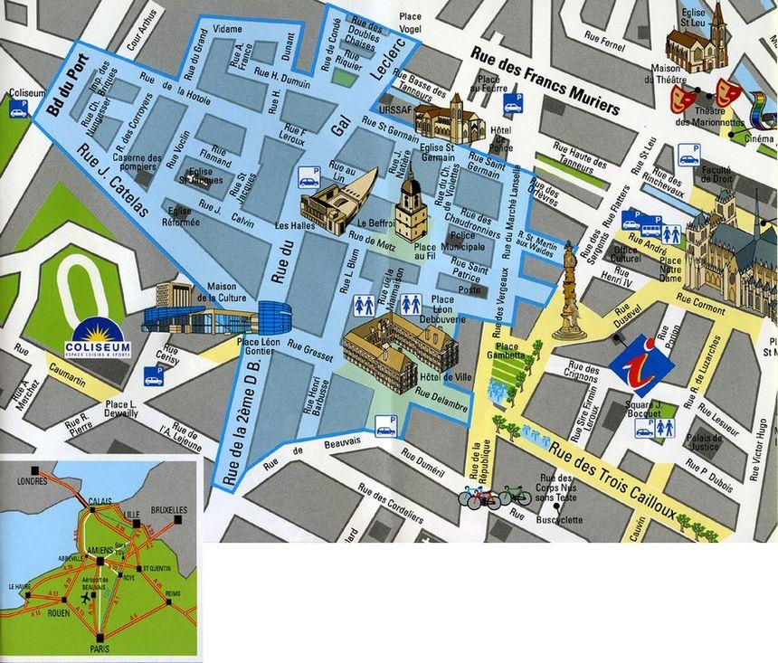Carte Centre Ville Amiens Avec Parking