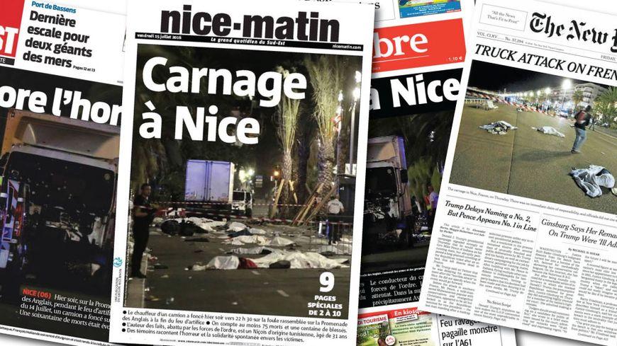 attentat de nice l 39 horreur en une de la presse en france et dans le monde. Black Bedroom Furniture Sets. Home Design Ideas