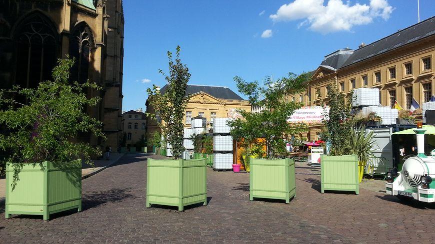 Les bacs à fleurs géants : dispositif anti intrusion installé sur la place d'armes de Metz pour les fêtes de la Mirabelle