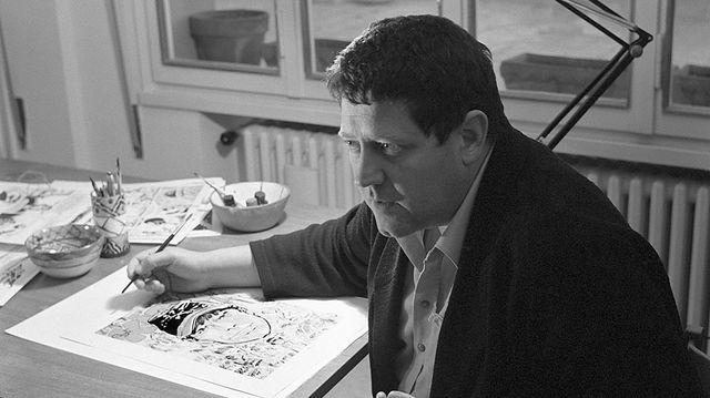 Hugo Pratt sur un planche de Corto Maltèse à Venise en 1966