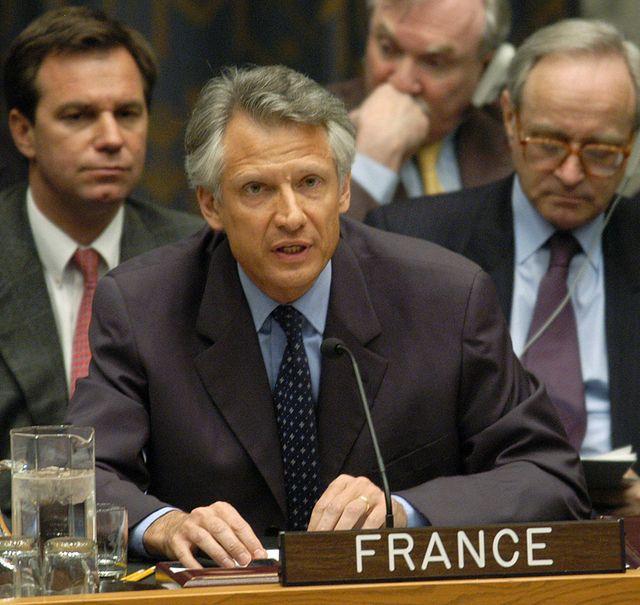 Dominique de Villepin Premier ministre, lors de son discours à l'ONU contre une intervention française en Irak