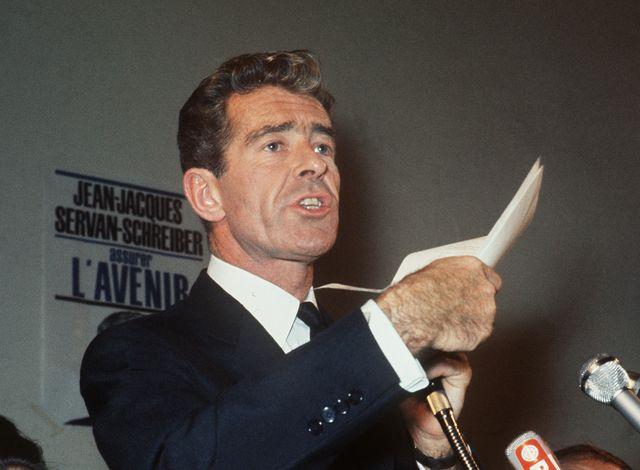 JJ Servan-Schreiber en 1970 à Bordeaux, lors d'un meeting du parti radical socialiste
