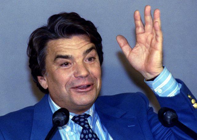 Bernard Tapie, ministre de la Ville,  en 1993 au lancement de sa campagne électorale