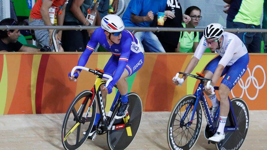 Thomas Boudat lors d'une épreuve de l'Omnium aux JO de Rio