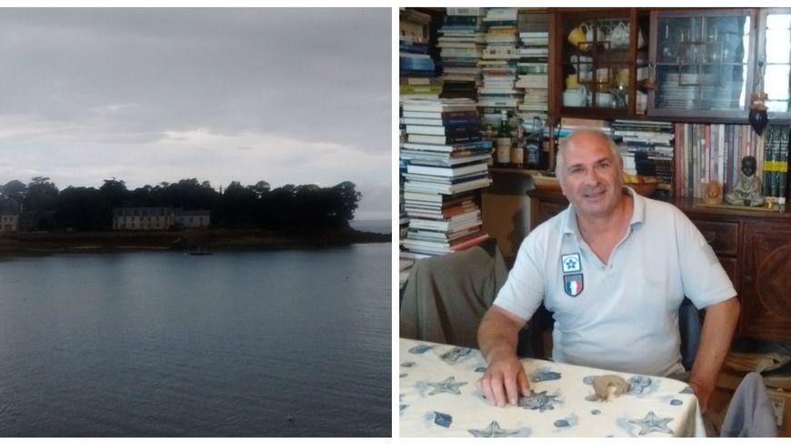 """L'Île Tristan (à gauche) et Gilles dans son """"antre"""" (à droite)"""