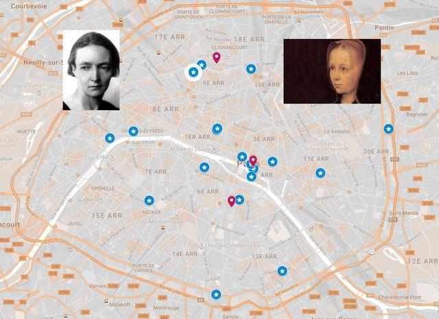 Carte Interactive, cliquez sur l'image pour aller naviguer sur le plan de Paris à la recherche de femmes remarquables