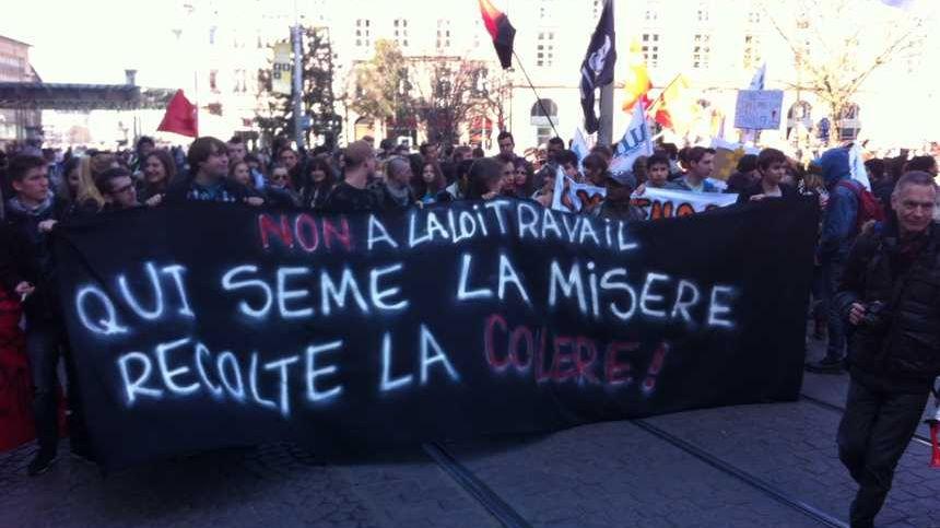 Manifestation contre la loi travail à Strasbourg avant l'été.