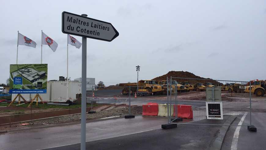 Le chantier de l'usine des Maîtres Laitiers du Cotentin à Méautis près de Carentan (en janvier 2016).