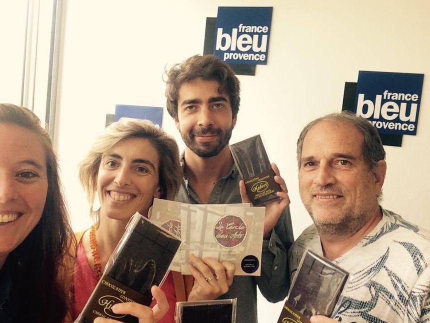 Quatuor gourmand ! Mélanie Masson (FB Provence), Marie Laure et Jésuan (Cercle des Arts) et Patrice  Acourt (Chocolaterie Hubert) - Radio France