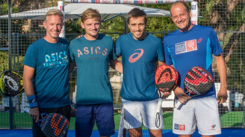 Les tennismen Thomas Johansson et David Goffin (à gauche) ont joué un match de padel à Monaco. - Aucun(e)