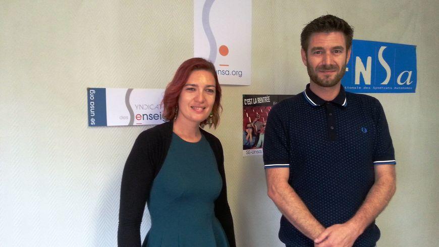 Elise Juanéda et Franck Deletraz, secrétaires académique et départemental du SE-UNSA de Côte d'or