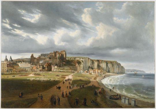 Vue de la plage de Dieppe 1854 Édouard Jean Marie Hostein 1804 1889