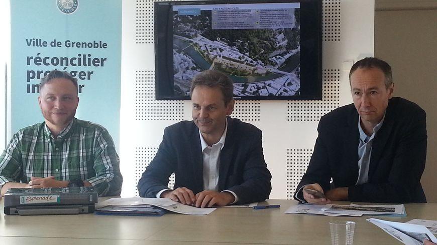 Les élus présentent les 3 scénarios (de gauche à droite Antoine Back, Vincent Fristot, Pascal Clouaire)