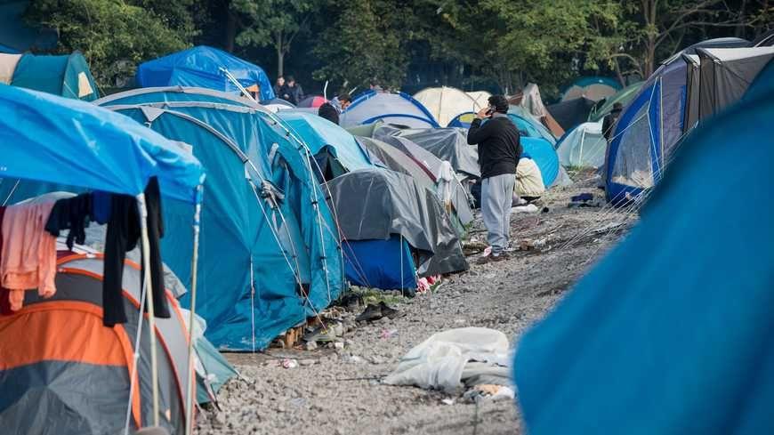 Un camp de réfugiés dans le nord de la France