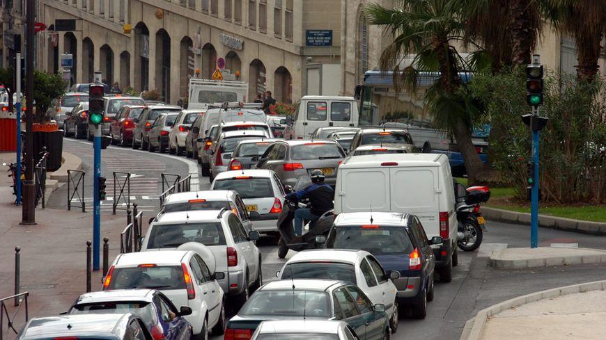 Embouteillage dans le centre de Montpellier (illustration)