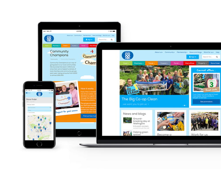 Lincolnshire Co-op responsive web design, Desktop, Tablet and mobile