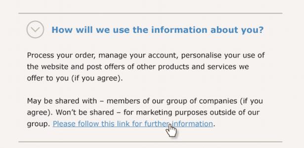 GDPR Privacy notice example