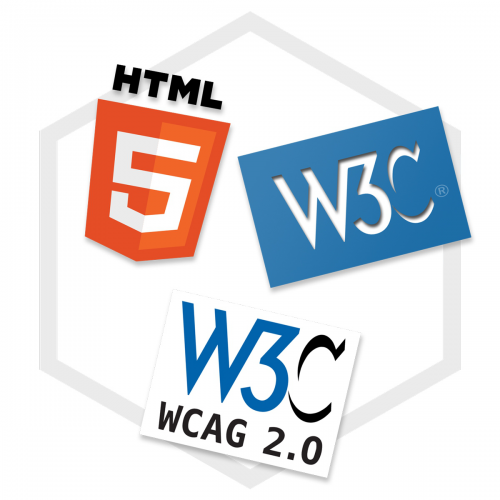 HTML5, W3C, WCAG 2.0 compliance logos