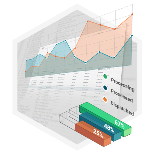 Ecommerce sales and promotion graphs and charts