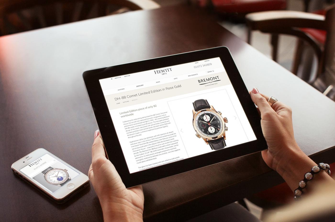 G.Hewitt Jewellery ecommerce website on tablet