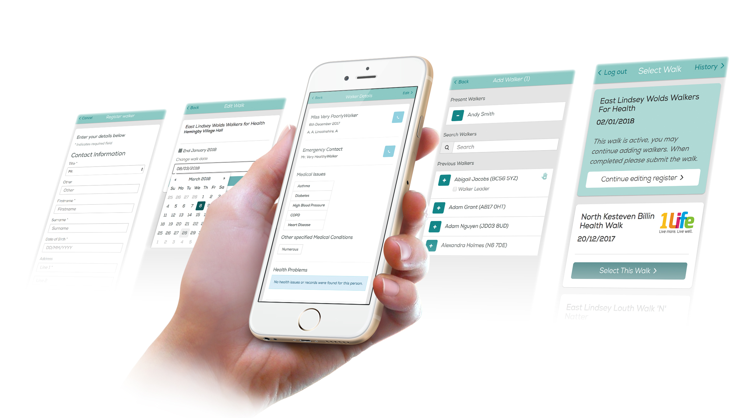 Health Walks mobile web development screens