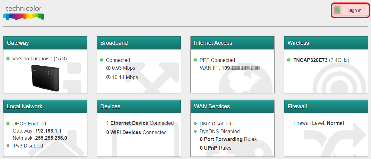 Accessing the web GUI of an ADSL router supplied by Gradwell