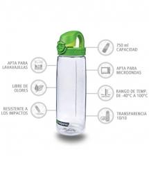 Nalgene Botella OTF Transparente tapón verde 750 ml
