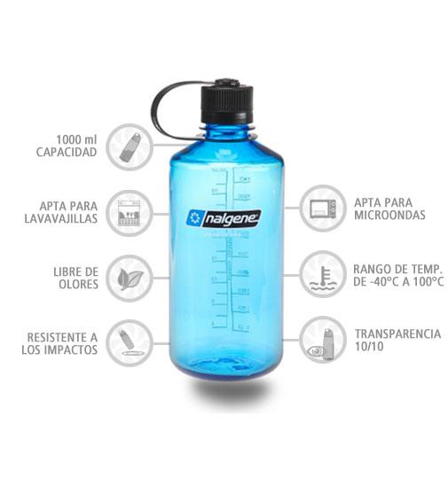 Nalgene Botella Boca Estrecha 1000 ml azul