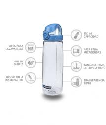 Nalgene Botella OTF Transparente tapón azul 750 ml
