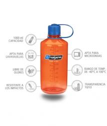 Nalgene Botella Boca Estrecha 1000 ml naranja