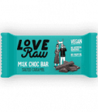 barrita de chocolate con leche y caramelo salado love raw