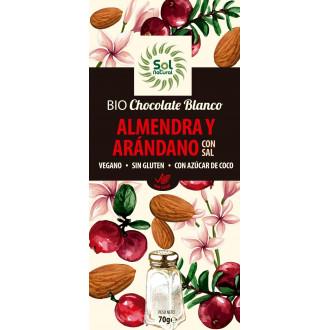 Chocolate Blanco Almendra y Arándano Bio 70 gr