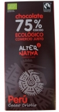 Chocolate 75% cacao bio Comercio Justo 80gr