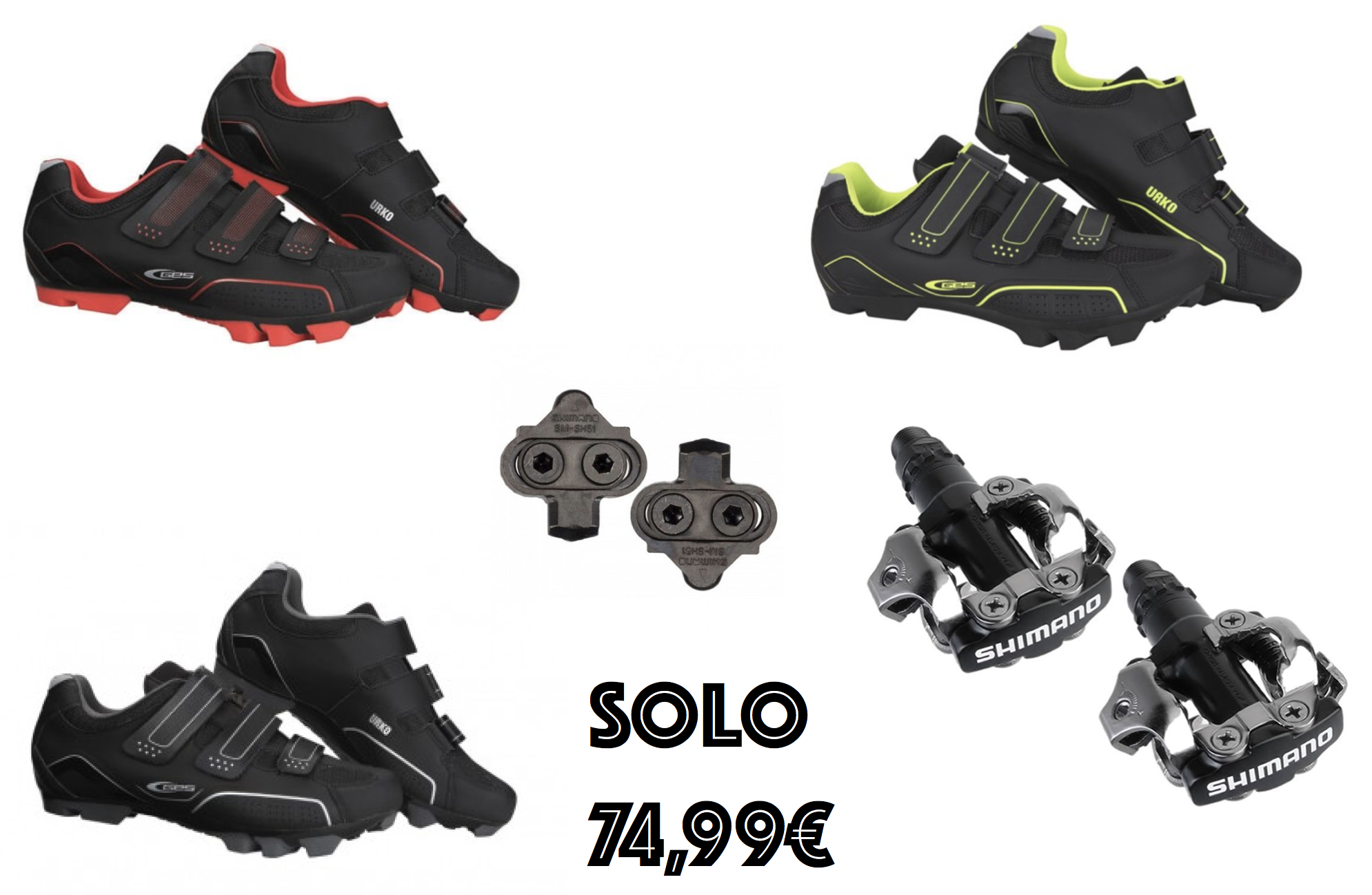 Zapatillas Mtb GES Urko 2018 68,99€ mas Pedales Shimano M520 SPD negro para MTB 39,40€ ahora solo por 74.99€