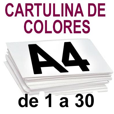 Papel Especial CARTULINA COLORES A4 de 1 a 30 copias