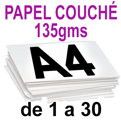 Papel Especial COUCHÉ BRILLO 135grm de 1 a 30 copias