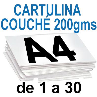 Papel Especial CARTULINA COUCHÉ 200 grm de 1 a 30 copias
