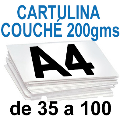Papel Especial CARTULINA COUCHÉ 200 grm de 35 A 100  copias