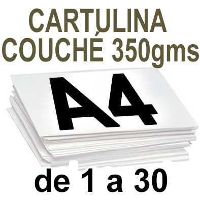 Papel Especial CARTULINA COUCHÉ 350 grm de 1 a 30  copias
