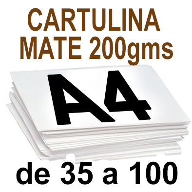 Papel Especial CARTULINA MATE 200 grm de 35 A 100  copias
