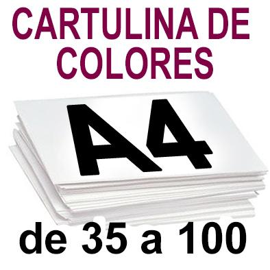 Papel Especial CARTULINA COLORES A4 de 35 a 100 copias