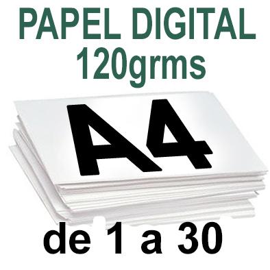 Papel especial DIGITAL MATE 120grms A4  de 1 a 35 copias