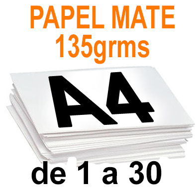 Papel Especial MATE 135 grms A4 de 1 a 30 copias